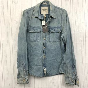 ABERCROMBIE & FITCH AF INDIGO CHAMBRAY SHIRT LARGE